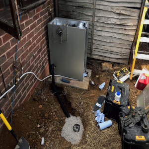 Nearly finished replacement external oil boiler in Middleton Cheney OX17 Oxfordshire