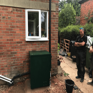 Now moved and installed correctly external oil boiler with plume management kit on new concrete base in Rotherfield Peppard, RG4 Oxfordshire